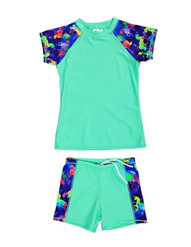 LEINASEN Unisex Boys Girls 2-Piece Rash Guard Swimsuits,Unicorn Short Sleeves Top with Boyshorts