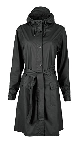 Rains Women's Curve- Chaqueta impermeable para mujer, color negro Black