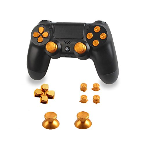 Xinkeen Aluminum Alloy PS4 Controller Replacement Thumbsticks Bullet ABXY Buttons and Directional Pad Mod Kit for Playstation 4 DualShock 4 (Gold)
