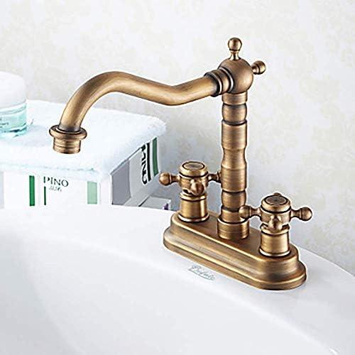 CHENBIN-BB 流域の蛇口ヴィンテージモダンなバスルームのシンクの蛇口アンティーク真鍮二つの穴のバスルームには、二つのハンドル二つの穴シャワーの蛇口バスルームタップをタップ