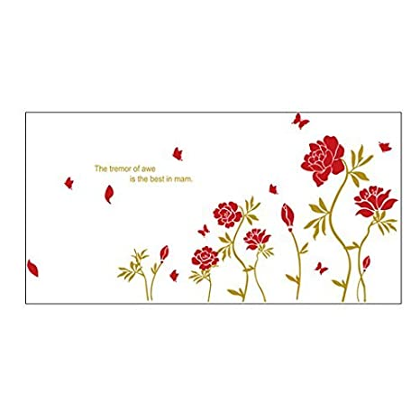 Wedding Red Room Fai Da Te Murali Peonia Fiori Decor Wall
