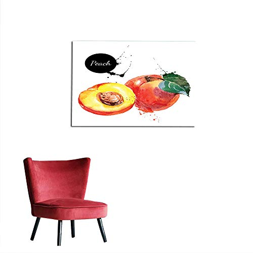 Mural Decoration Peach,Artistic Display of Fresh Garden Crops Cut in Half Creativity Nature Color Splashes,Multicolor Space Poster W47.2 x L31.5 ()