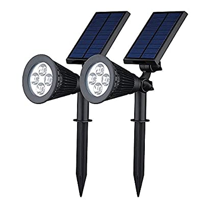 soled Solar Wall Lights / In-ground Lights, 270°angle Adjustable and Waterproof 4 LED Solar Outdoor Lighting, Spotlights, Security Lighting, Path Lights (2 pack)