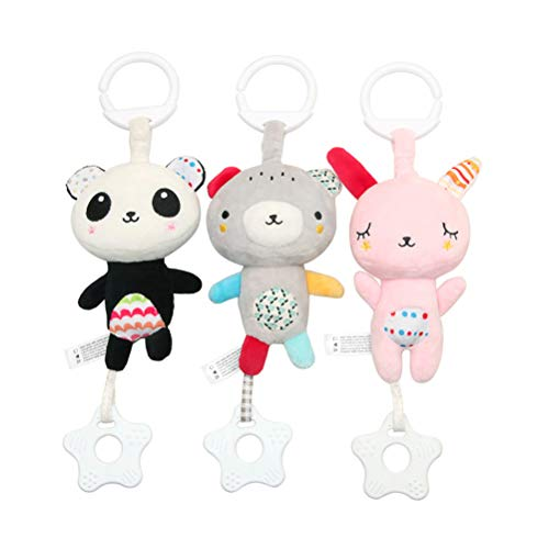 3pcs Baby Teether Crib Toys Infants Bedside Bells Rotating Bells Cot Rattle Bed Cartoon Gift Toys (Pink Rabbit + Grizzly + Panda)