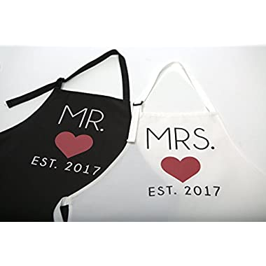 Mr. and Mrs. 2017 Couples Kitchen Aprons (2-Piece Set) Cute, Funny Cooking Bibs for Wedding Marriage Newlyweds