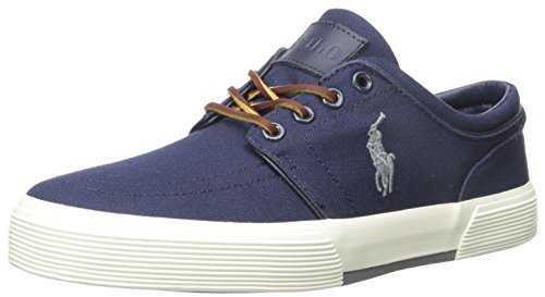 Polo Ralph Lauren Men's Faxon Low Rubber Fashion Sneaker, Newport Navy/Basic Grey, 11 D - Lauren Blue Ralph Polo Navy