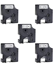 Compatible Dymo D1 Label Tape 45013 S0720530 Black on White D1 Tape 45013s Refills for DYMO D1 LabelManager 160 280 220P 360D 450 210D PnP, 1/2-Inch (12mm) x 23-Feet (7m), 5-Pack