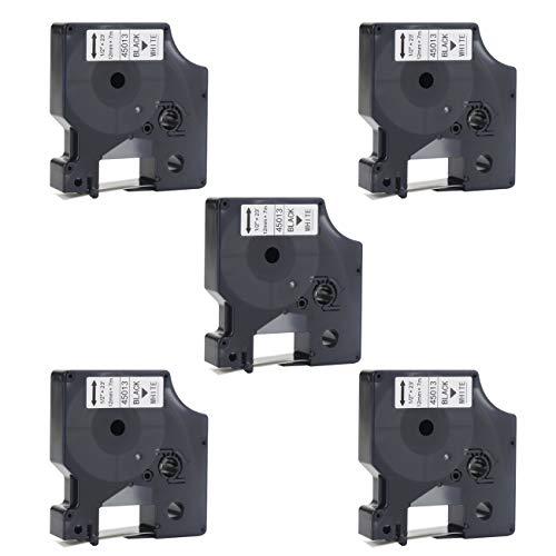 Compatible Dymo D1 Label Tape 45013 S0720530 Black on White D1 Tape 45013s Refills for DYMO D1 LabelManager 160 280 220P 360D 450 210D PnP, 1/2-Inch (12mm) x 23-Feet (7m), - D1 Black Print