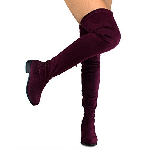 Premier Standard Damen Kniehohe Stretch Boot - Trendy High Heel Schuh - Sexy Overknee Pullon Boot - Komfortable Easy Heel Burgund