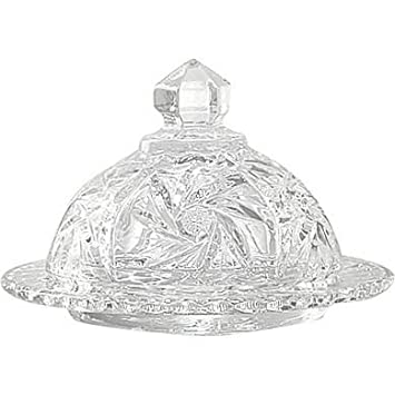 Handcut Crystal 5x4 Inch Round Butter Dish - Pinwheel MyCuisina