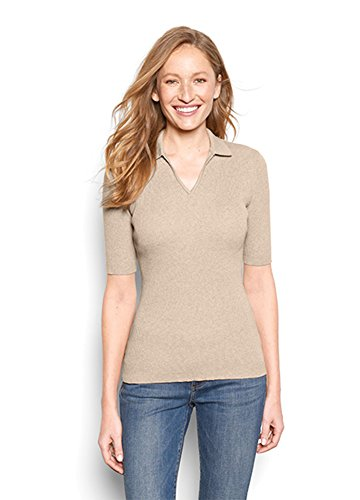 Orvis Women's Ribbed Elbow-Sleeved Polo, Camel, Large