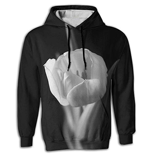 (3D Print Hooded Sweatshirts Men Black White Tulips Drawstring Pullover Hoodie Pockets)