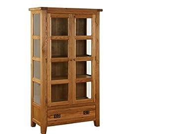 sherwood rustic oak 2 door glass display cabinet camberley oak 2 door
