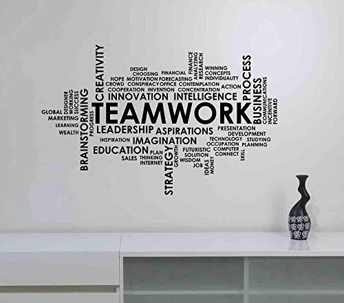 (Teamwork Word Cloud Wall Decal Vinyl Lettering Business Team Work Success Inspirational Words Sticker Quote Art Decorations for Home Classroom Room Office Motivational Decor hq82)