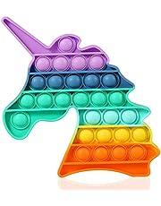 Kine 2 stuks regenboog-eenhoorn met hartje, sensorische klem, speelgoed, zachte siliconen pop-bubble sensor, fidget speelgoed, push bubble speelgoed, geschenken voor kinderen