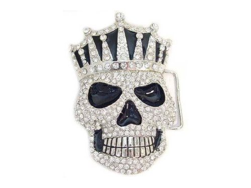Crown Belt Buckle (Men's Large Skull With A Crown Covered With Clear Rhinestones Belt)