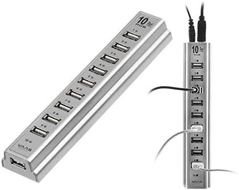 10-Port High-Speed USB Desktop Hub with LED Indicator Lights and AC Adapter