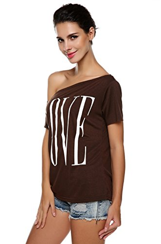 ANGVNS Womens Sleeve Shoulder T shirt