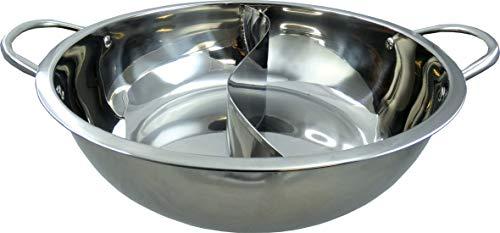 JADE TEMPLE Hot Pot Wok, roestvrij staal, met praktische scheidingswand en 32 cm binnendiameter, met dubbele handgreep…