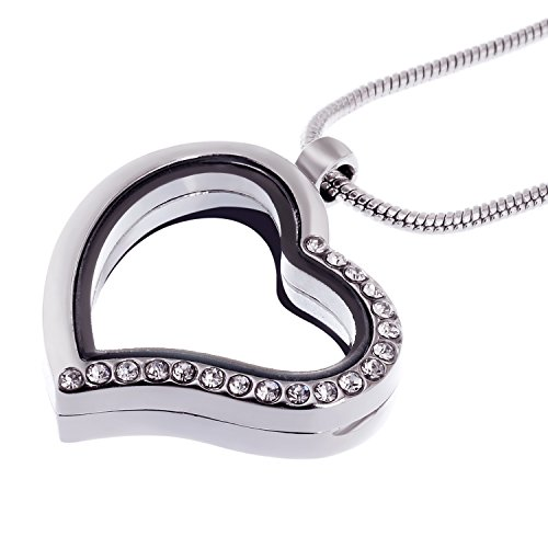 RUBYCA Living Memory Heart Locket Snake Chain Necklace Crystal Floating Charm DIY Silver Tone 1Pcs -