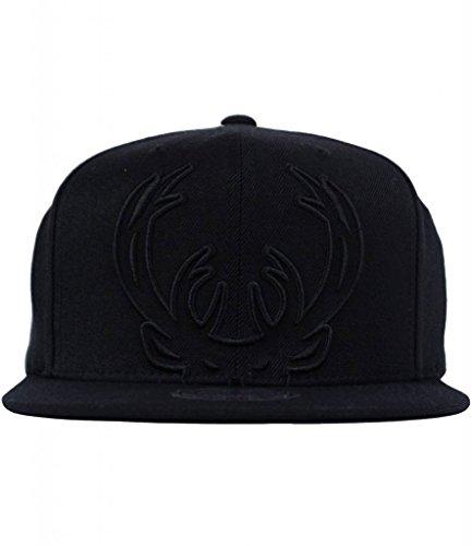 Mitchell & Ness Milwaukee Bucks Black Tonal Cropped XL Logo Snapback Hat - NBA Flat Bill Adjustable Cap]()