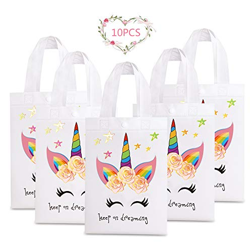 SEAKCOIK 10 Pack Unicorn Gift Bags Christmas Gift Tote Bags, Premium Reusable Waterproof Party Bag, Unicorn Party Favors Treat Bags Goddie and Candy Bags, Supplies for Kid's Birthday Party Decoration