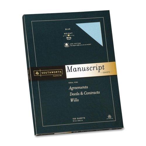 - Southworth 41SM Credentials Collection Manuscript Cover 30lb Stock 9 x 12-1/2 Blue 100/Box by Southworth