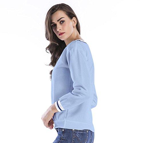 a Sudadera rayas Internet mujer Moda Azul Blusa Tops en con V escote escote PEBqAw