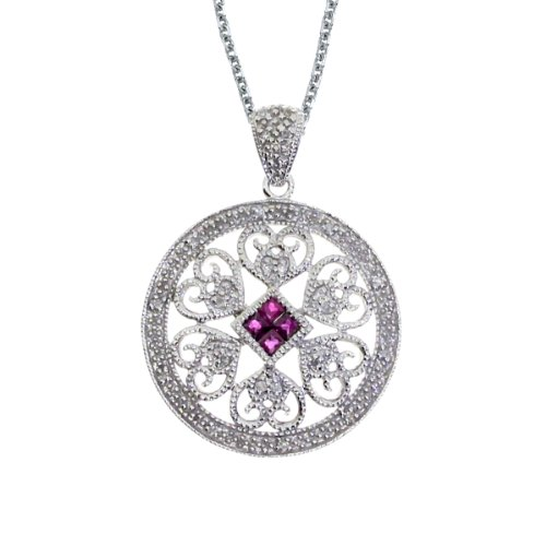 0.20 Carat (ctw) 14k White Gold Square Red Ruby and Diamond Women's Circle Heart Filigree Pendant with 18