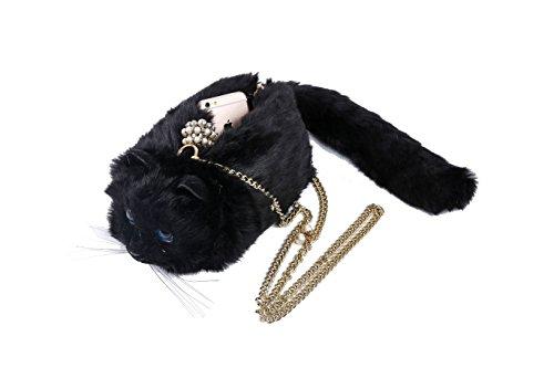 Pride Panda Super Cute Girl's Soft Faux Fur Plush Lifelike Kitty Cat Shoulder Handbag (Handbag Soft)