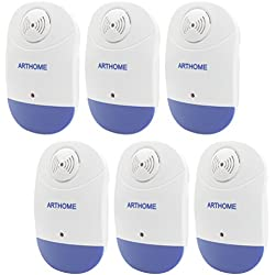 Art & Home 6 Piece Pest Control, Ultrasonic Pest Repellent for Insects, Cockroach, Flies, Ants, Spiders, Fleas, Bugs, Rodent, Rat, Mice Free Night Light Latest Highly-Effective Frequencies