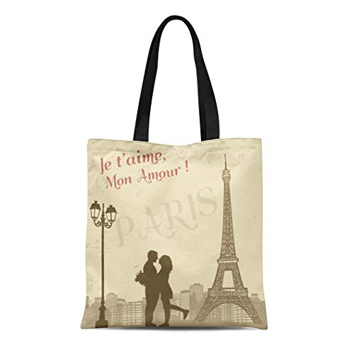 Semtomn Canvas Bag Resuable Tote Grocery Adorable Shopping Portablebags Beige Wedding Retro Paris Grunge with Lovers and City Scape French Love Couple Natural 14 x 16 Inches Canvas Cloth Tote Bag