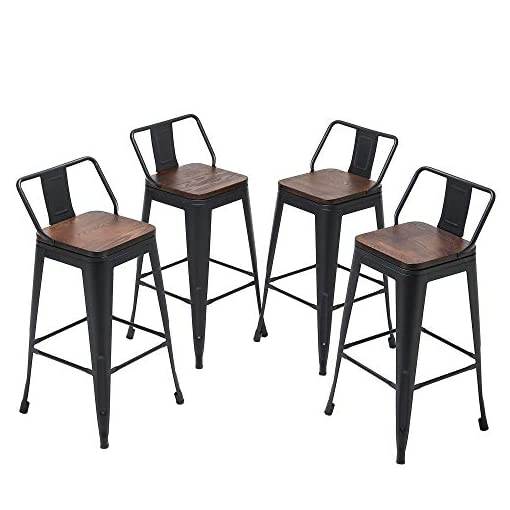 Farmhouse Barstools Yongqiang Metal Bar Stools with Back Set of 4 Kitchen Counter Height Stools with Wooden Seat 24″ Matte Black farmhouse barstools