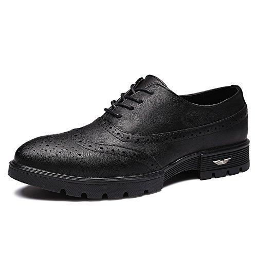 De Los Black Cuero Suave Coreana Hombres Tallados Desgaste Zapatos Suelas Bullock La De De Zapatos Correa Versión De Goma Koyi Antideslizante qwTxZBtRn7