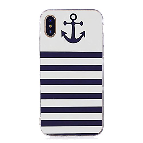 Union Striped Suit (Inonler Striped anchor and sailor suit, great navy soft TPU silicone pattern case for iPhone X,blue case)
