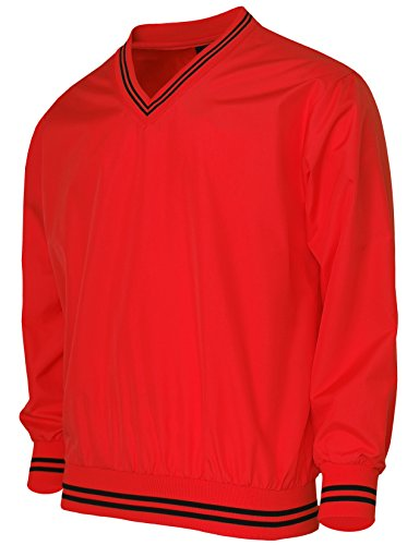 [BCPOLO Men's Windshirt V-Neck Wind Shirt Wind Shirt Windbreaker Shirt Golf Shirt-red L] (Red V-neck Pullover)