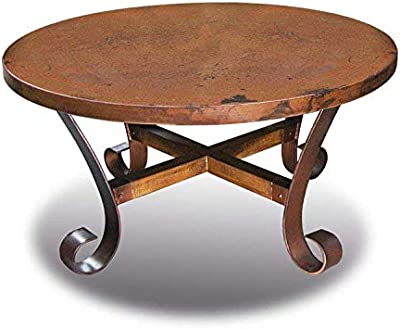 Ridge Round Copper Coffee Table Fully Assembled