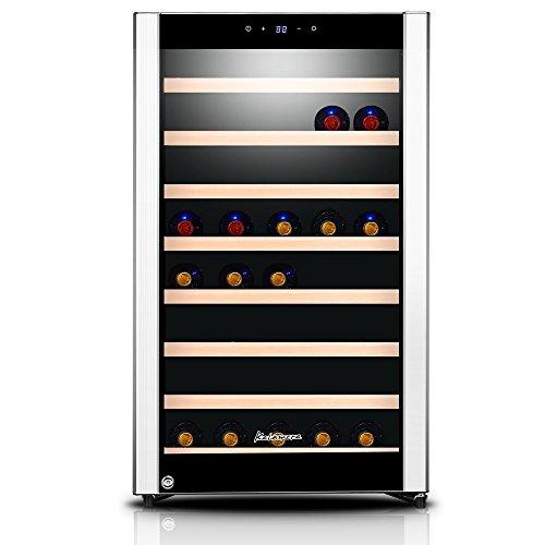 Kalamera KRC-52SZF Design Weinkühlschrank Weinflaschen Kühlschrank für bis zu 52 Flaschen ,Weinklimakuehschrank Minibar Freistehend ,Single Temperaturzonen ,5-18°C,(120 Liter, LED Bedienoberfläche, 1 Kühlzonen, Edelstahl)[Energieklasse B]
