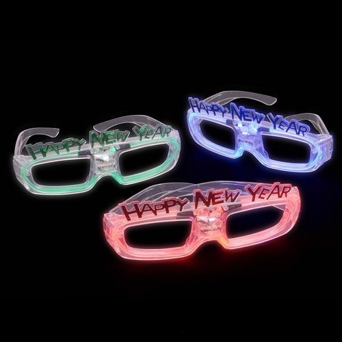 Light up Sound Activated Happy New Years Novelty Glasses - Qty 1 New Year Costumes