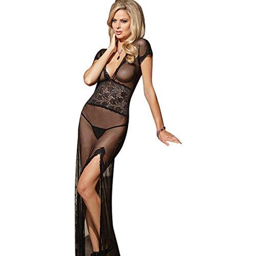 LOHASBEE-Women-Sexy-Lingerie-Plunging-Neck-Split-Sexy-Robe-Nightwear-Set