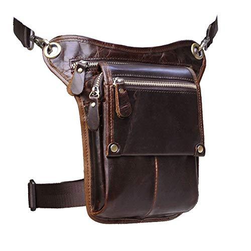 Le'aokuu Mens Genuine Leather Messenger Hiking Waist Hip Bum Pack Drop Leg Bag (Brown) -