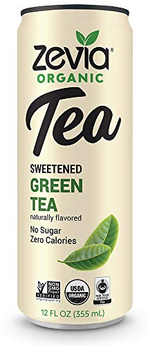 - Zevia Organic Green Tea, 12 Count, Sugar-Free Brewed Iced Tea Beverage, Naturally Sweetened with Stevia, Zero Calories, No Artificial Sweeteners