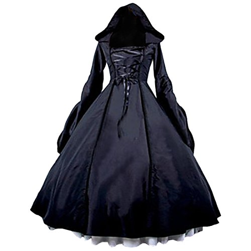 Partiss Women's Gothic Victorian Poplin Long Sleeve Hooded Halloween Lolita Witch Dress XL Black ()