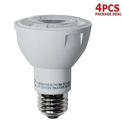 4 unidades – 7 W impermeable regulable Luz PAR20 bombilla LED de alta calidad