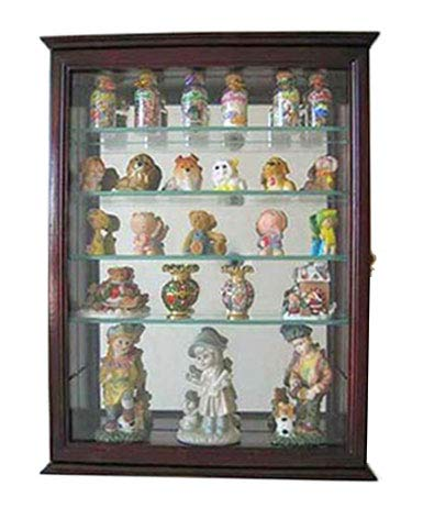 Mirrored Back Cherry - DisplayGifts Small Wall Mountable Curio Cabinet Shadow Box, with Glass Door, Mirrored Back, CD06 (Cherry)