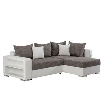 Kasandria® Ecksofa Duo Weiß/Grau | Couch mit Schlaffunktion ...