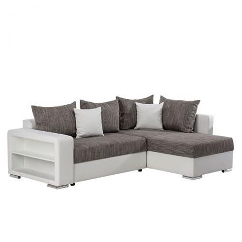 Kasandria® Ecksofa Duo Weiß/Grau | Couch Mit Schlaffunktion | Kleines Sofa  Mit Ablage