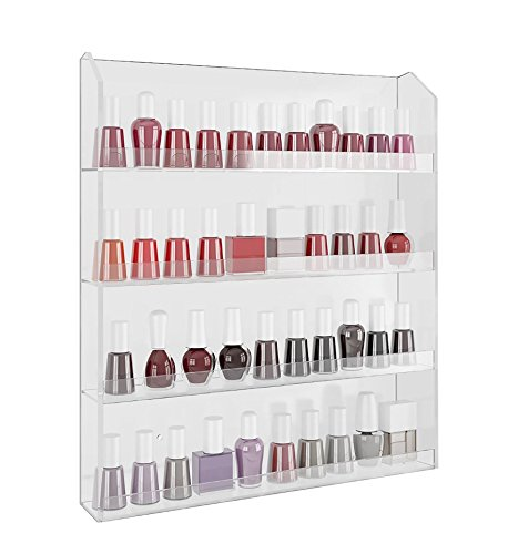 Home-it Acrylic Wall Rack Organizer Holds up to 40 Bottles Nail Polish (Best Place To Store Nail Polish)