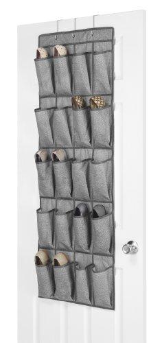 Pockets 20 Polypropylene - Whitmor 20 Pocket Over the Door Shoe Bag Crosshatch Gray