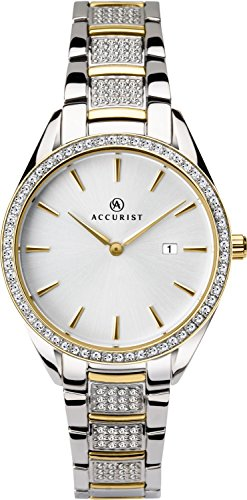 Accurist Ladies Analogue Quartz Watch With Silver Dial And Two Tone Stone Set Bracelet 8218
